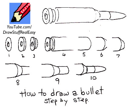 how to draw gun easy