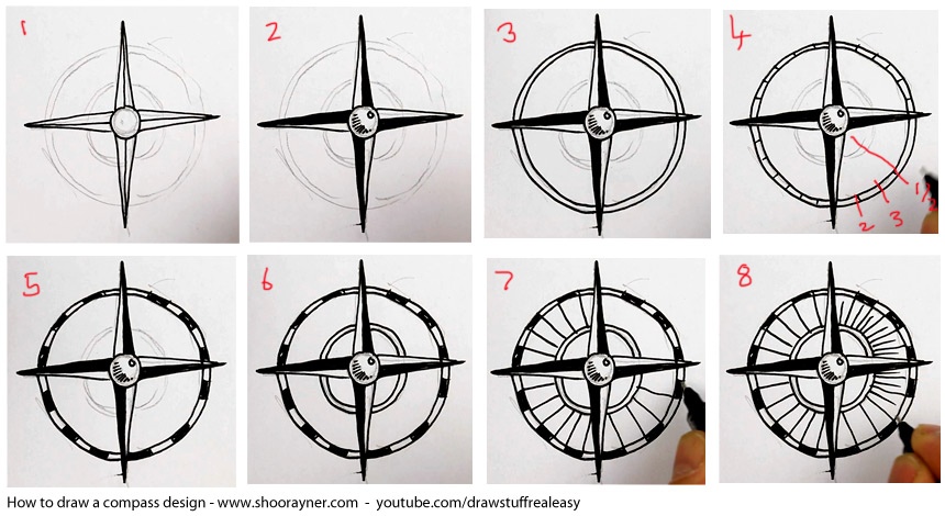 How to draw a compass design shoo rayner author for How do you make a blueprint