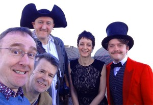 Me, Jonny Duddle, Jon Mayhew,, Heather Dyer and  Steven Butler as the Ringmaster!
